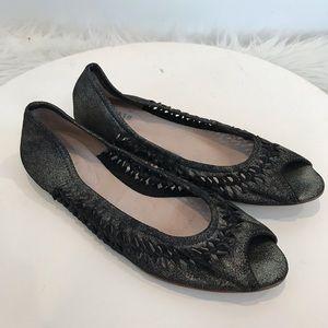 Bloch Peep Toe Ballet Flat Women's 39.5 Leather